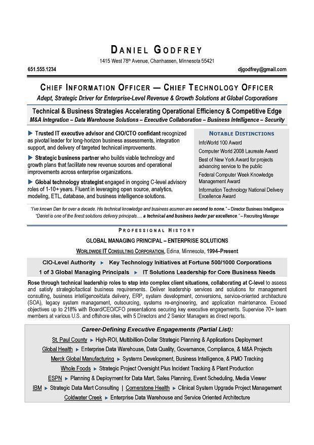 CIO & CTO Sample Resume by Award-Winning Executive Resume Writer ...