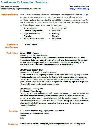 Bookkeeper CV Example - Learnist.org