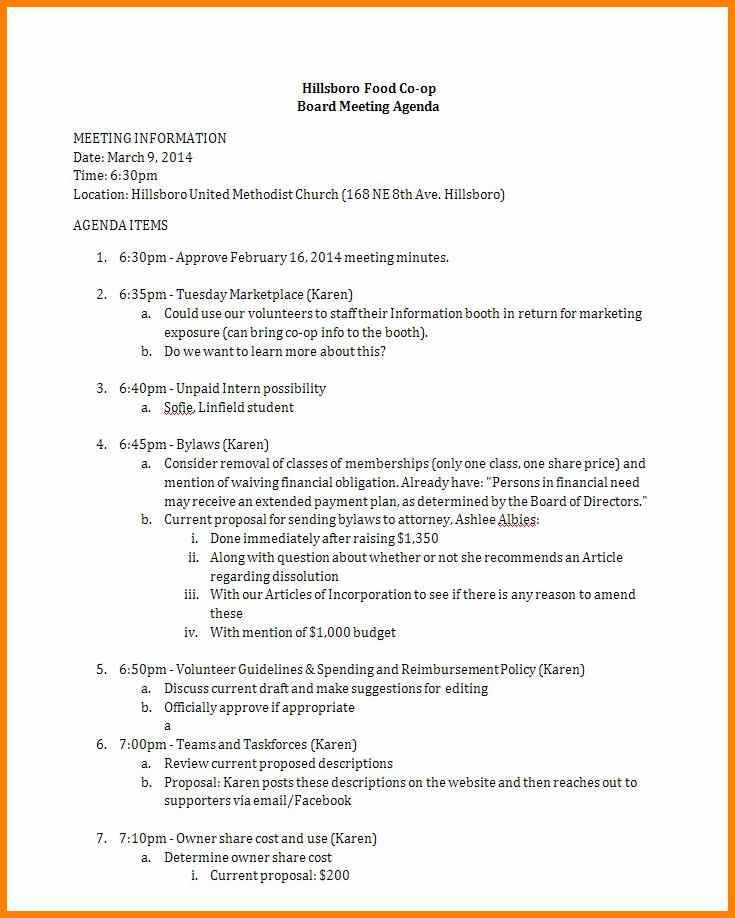 3+ agenda for board meeting | report example
