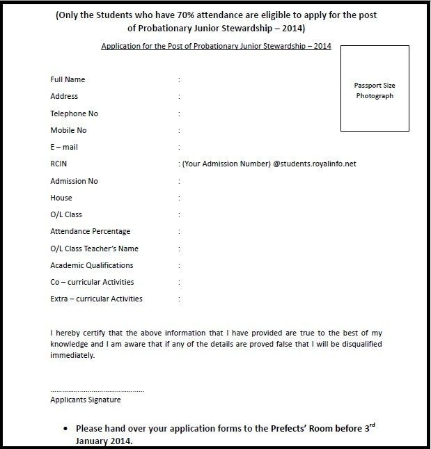 Applications for the post of Probationary Junior Steward have been ...