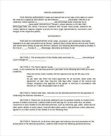 Rent Agreement Form Samples - 8+ Free Documents in Word, PDF