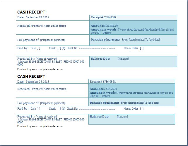 Business Cash Receipt Template Free | Receipt Templates
