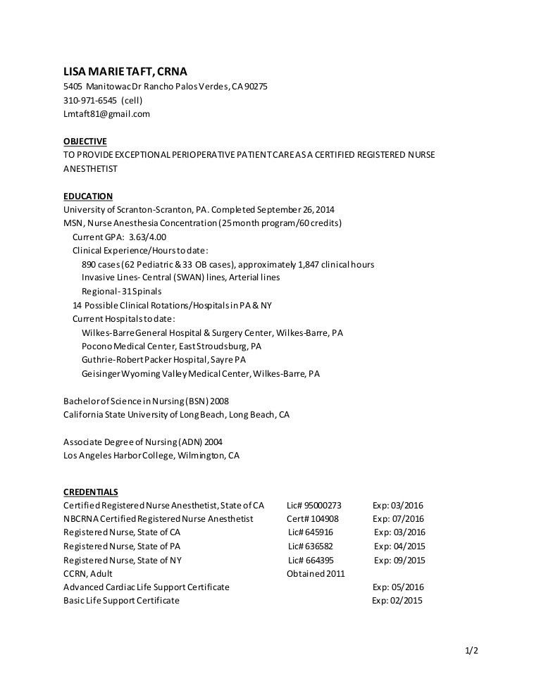 Stylist And Luxury Crna Resume 4 Sample Resume For Nurse ...