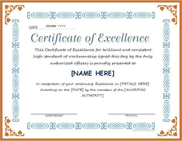 Certificate of Excellence for MS Word DOWNLOAD at http ...