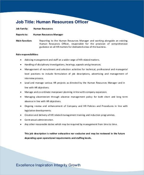 Human Resource Management Job Description Sample - 7+ Examples in ...
