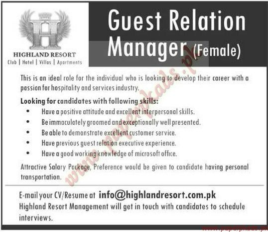 Guest Relation Manager Jobs - The News Jobs ads 23 November 2014 ...