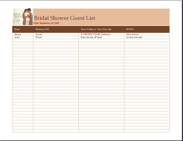 Word Bridal Shower Guest List Template | Word Document Templates