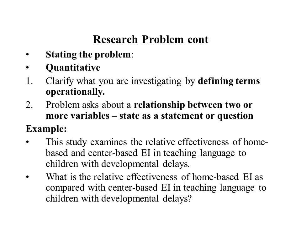 Educational Research Chapter 3. Research Problem Systematic ...