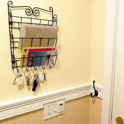3 Tier Rack Mail Letter Key Holder Hook Wall Mount Storage ...