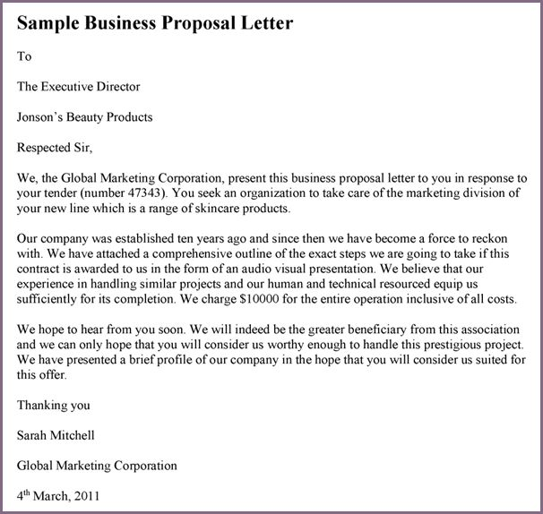 SAMPLE OF PROPOSAL LETTER TO A COMPANY | proposalsampleletter.com