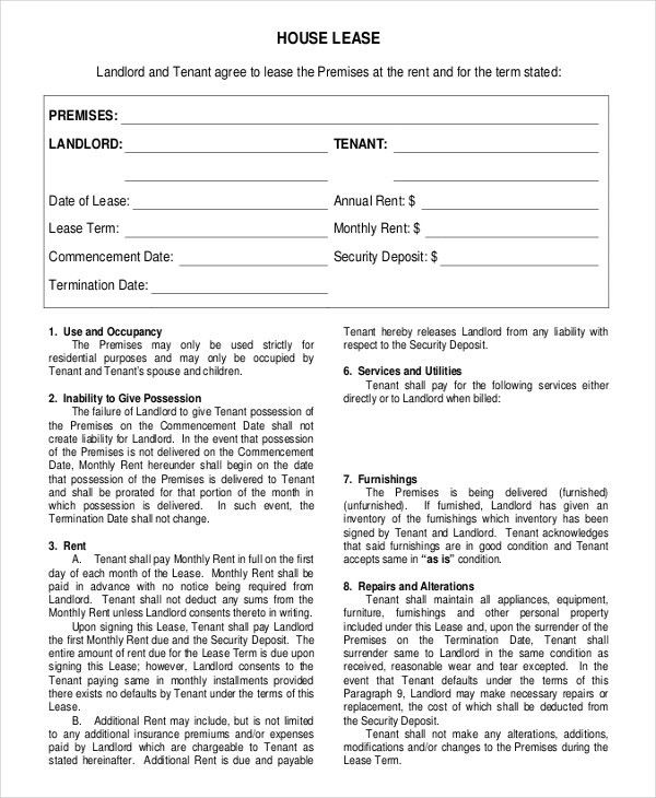 House Rental Agreement Template – 9+ Free Word, PDF Documents ...