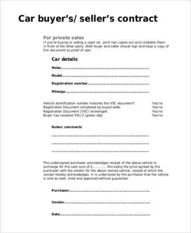 Car Purchase Agreement - 8+ Free Documents in Word, PDF