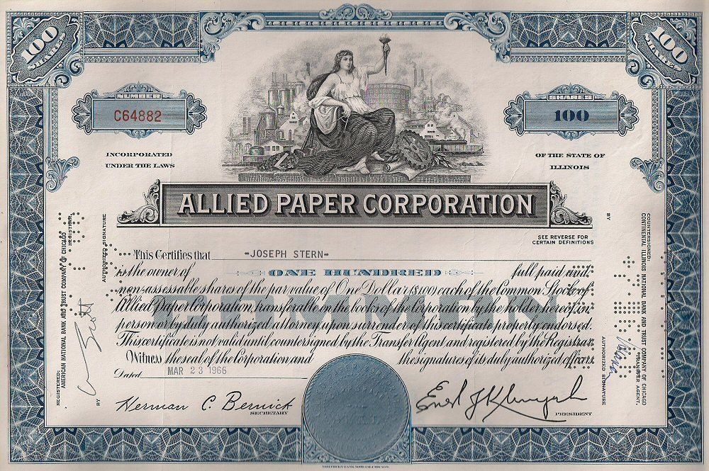 File:Allied Paper Corporation Stock Certificate 1966.jpg ...