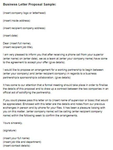 Business Letter Proposal Sample | Just Letter Templates