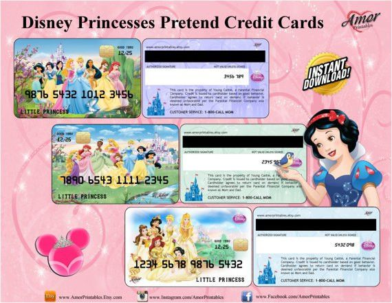 Disney Princess Pretend Credit Cards Membership Cards