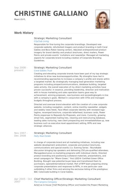 Strategic Marketing Consultant Resume samples - VisualCV resume ...