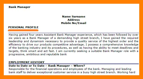 Sample Personal Profile Template. clear professional resume ...