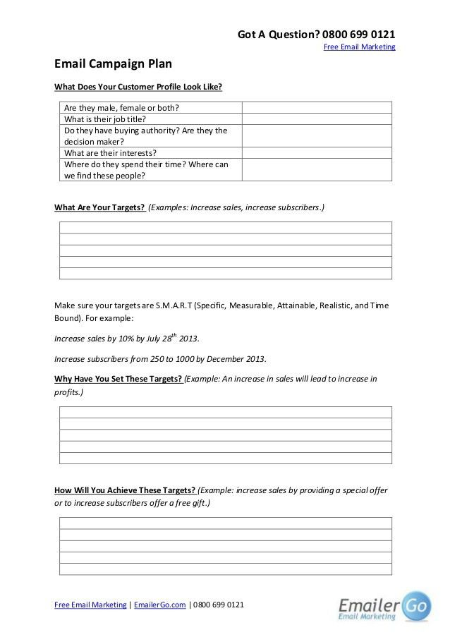 Email Marketing Campaign Plan Template