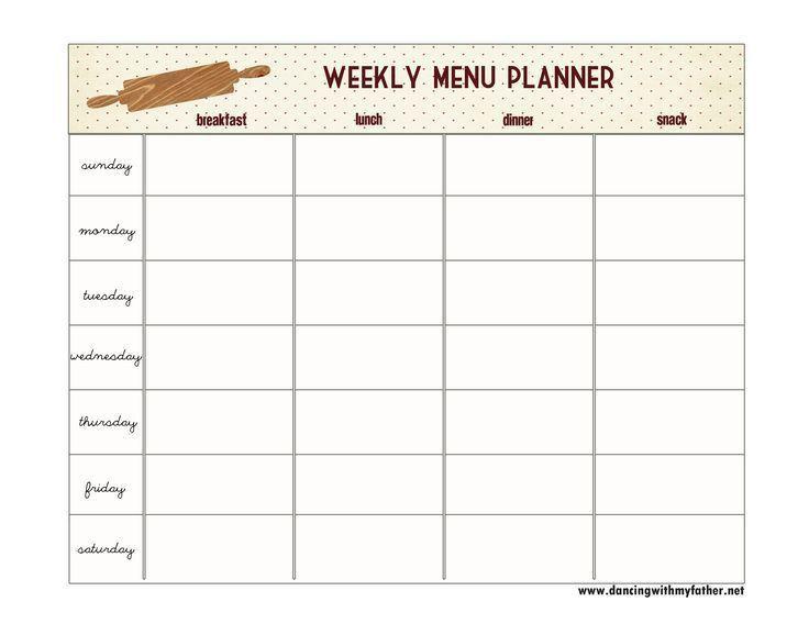 88 best Free Weekly Menu Planners images on Pinterest   Menu ...