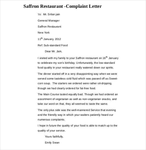 14+ Restaurant and Hotel Complaint Letter Templates – Free Sample ...