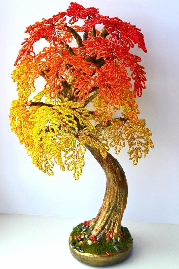 Изготовление своими руками деревья из бисера