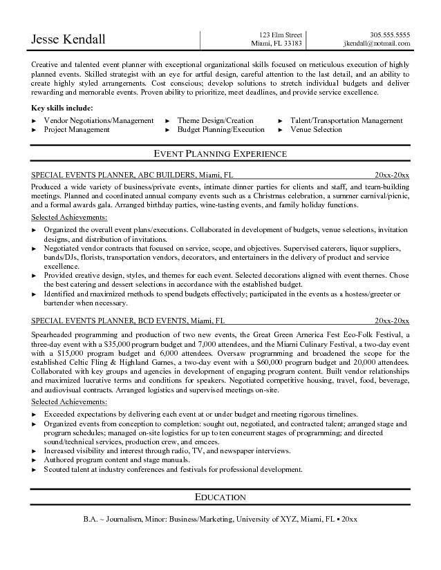 Special events coordinator resume sample - acesfishing.ningessaybe.me