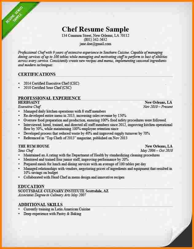 sample of chef resume chef resume sample examples sous chef jobs