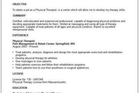 physical therapy resume examples physical therapist resume sample