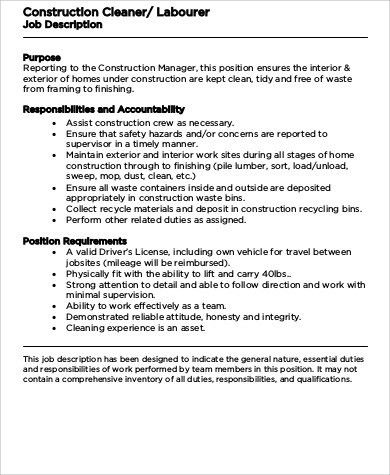 Construction Laborer Job Description Sample   8+ Examples In Word, PDF