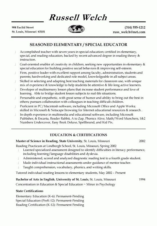 Educator Resume Template - Best Resume Collection