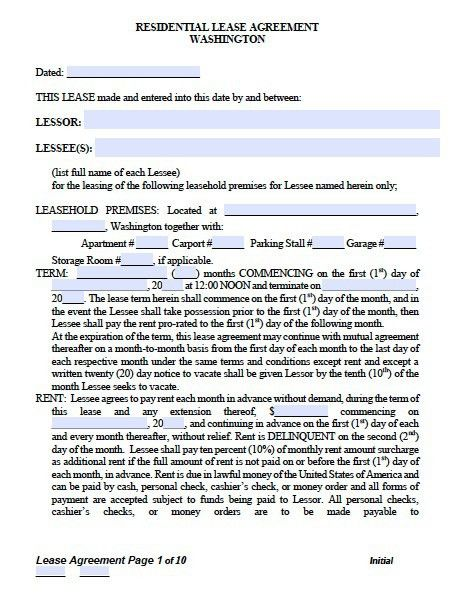 Free Washington Standard Residential Lease Agreement – PDF Template