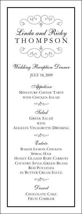 Wedding Menu Template - Wedding Menu Template 9