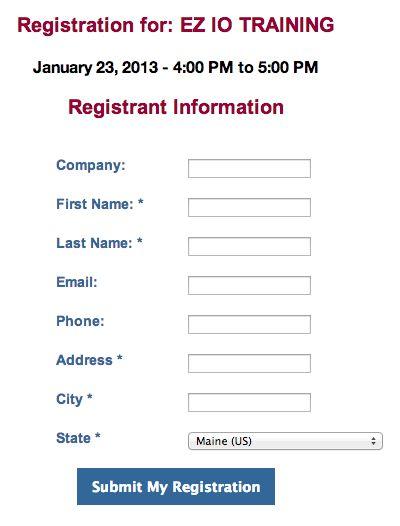 Event Registration Form - Code Sample | Branch CMS Documentation