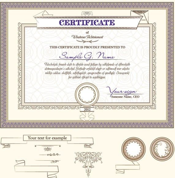 Certificate template and decoration borders design vector Free ...