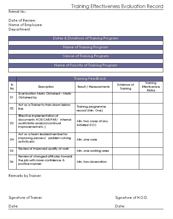 Training Effectiveness Evaluation Record Format