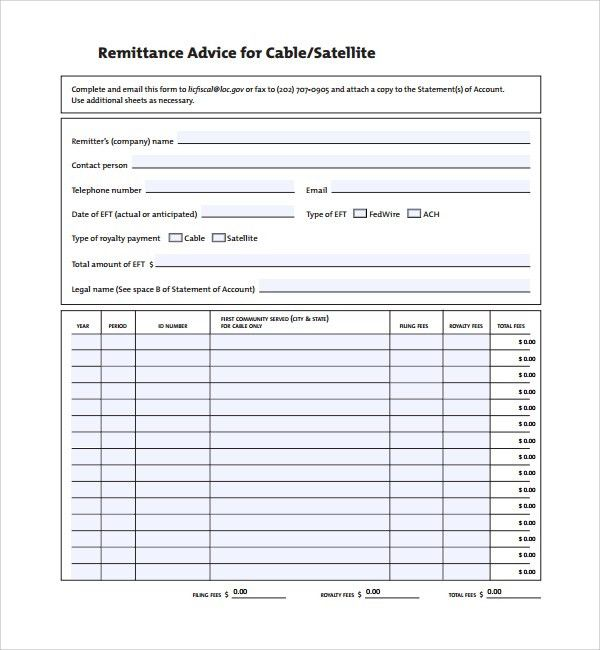 Sample Remittance Template - 9+ Free Documents in PDF, Word