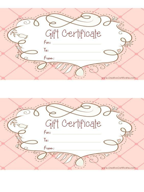 free printable pink gift certificate with a brown drawing | DIY ...