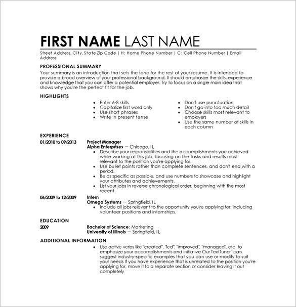 Resume Template In Word 2010. Free Resumes Templates For Microsoft ...