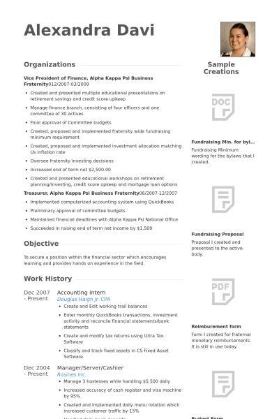 Accounting Intern Resume samples - VisualCV resume samples database
