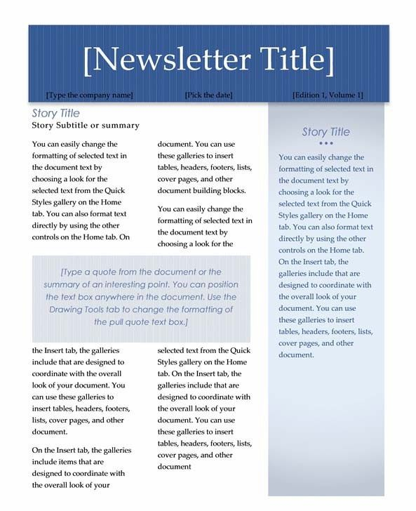 Ms Word Newsletter Templates  Microsoft Newsletter Templates Free