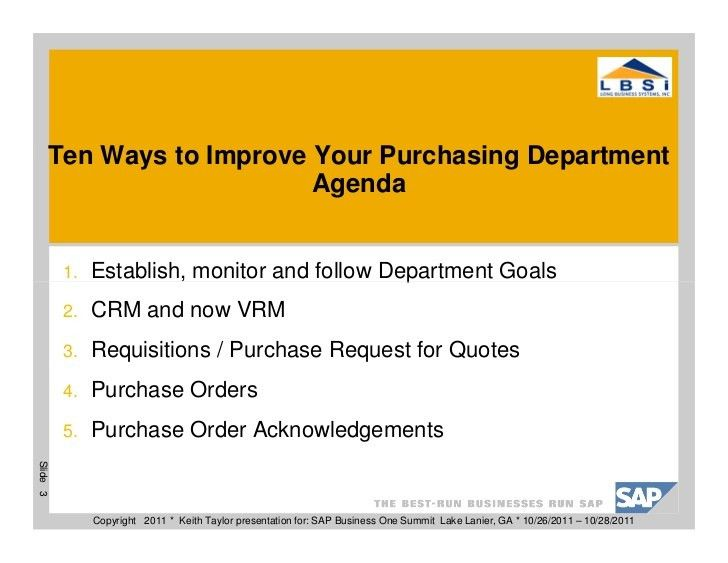 10 Ways To Improve Your Purchasing Department
