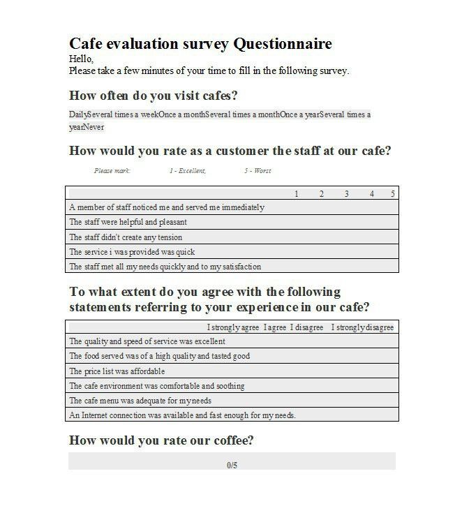 Questionnaire Sample. Sample Survey Questionnaire Sample-Survey ...