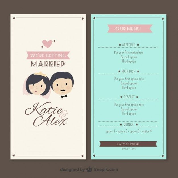 Wedding Menu Template Vector | Premium Download