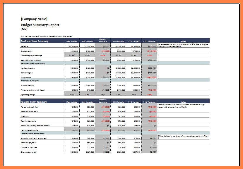 5+ monthly financial report excel template | Progress Report