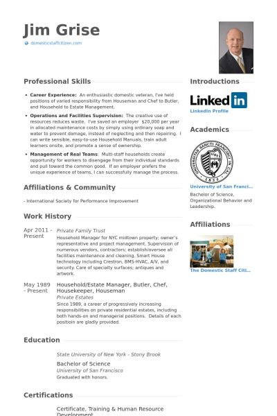 Housekeeper Resume samples - VisualCV resume samples database