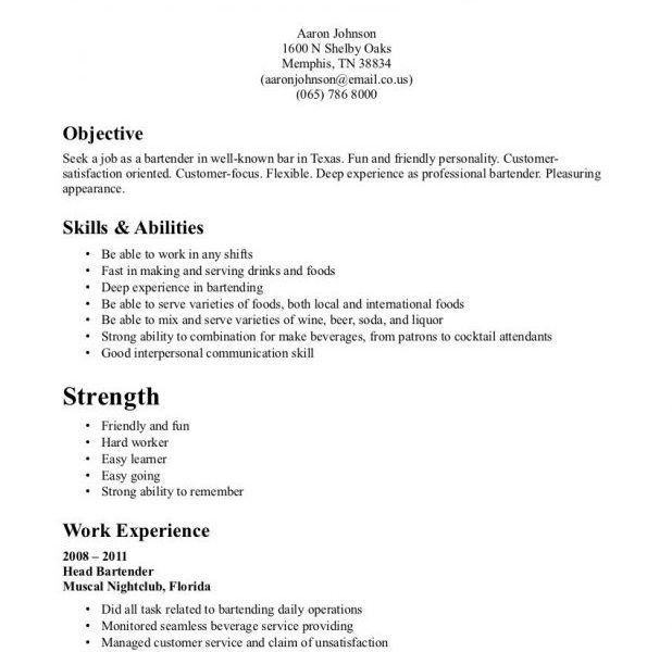 Merry Bartender Resume Template 12 Bartenders Resume Sample ...