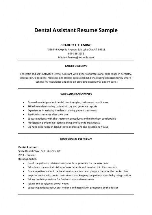 Resume Examples For Dental Assistants. Dental Assistant Resume ...