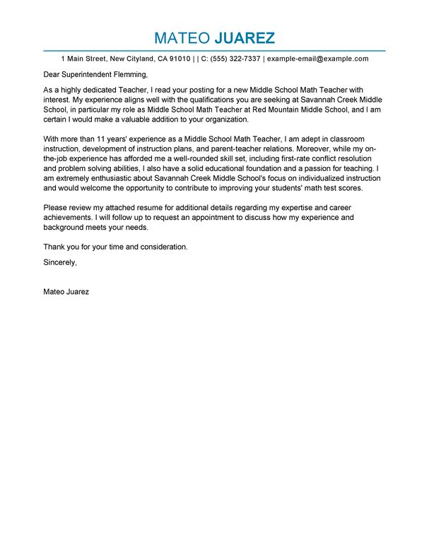 Skillful Sample Teacher Cover Letter 2 Example - CV Resume Ideas