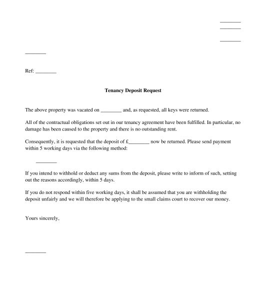 Letter to Request Return of Tenancy Deposit - Template