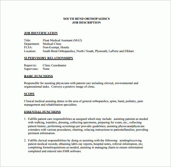 9+ Medical Assistant Job Description Templates – Free Sample ...